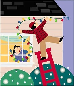 Cartoon parent hanging outdoor lights for the holiday season. Child watching from inside the house is in shock as the parent falls from the ladder.