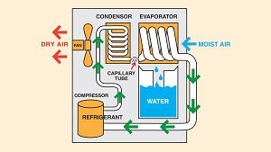 Diagram of a how a dehumidifier works in the context of a house's basement.