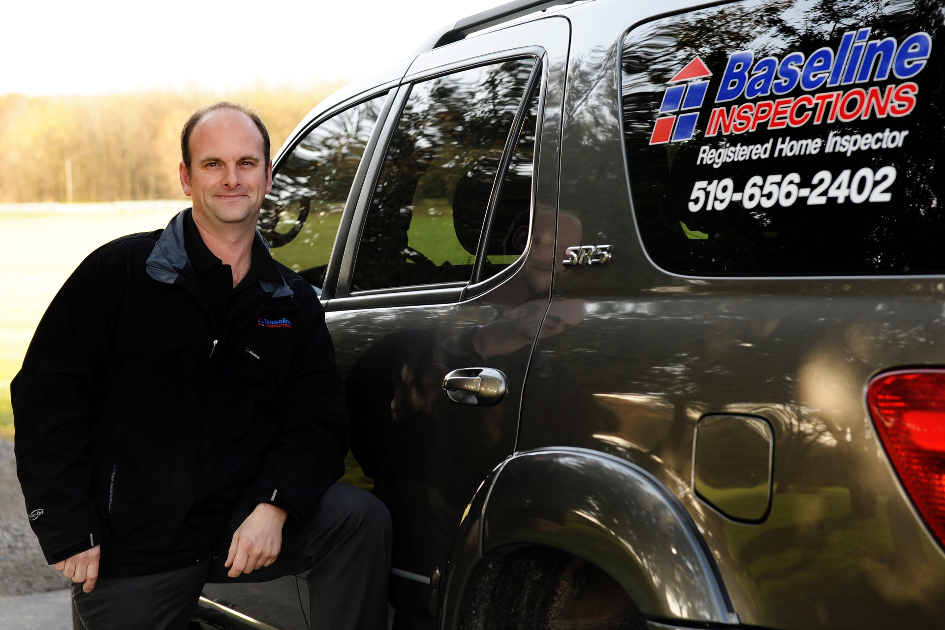 Jamie Ruth with Baseline Inspections car, Jamie's testimonials below.